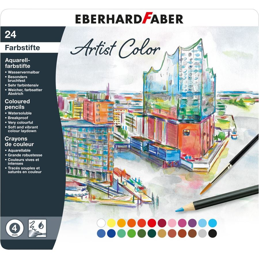 Eberhard-Faber - Artist Color watercoloured pencil round tin of 24