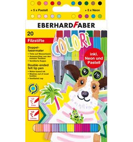 Eberhard-Faber - Colori double-ended felt tip pen cardboard box of 20