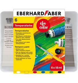 Eberhard-Faber - Tempera paint 18ml in plastic box of 6