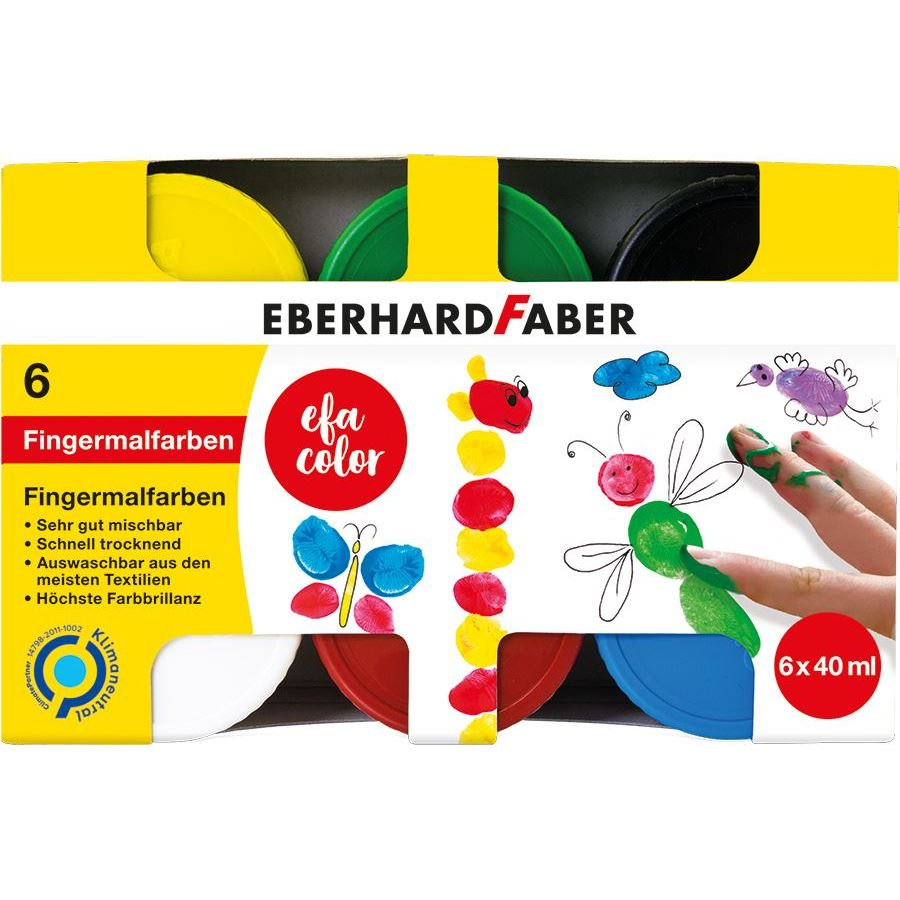Eberhard-Faber - EFA Color Finger paints 40 ml, box of 6 colours