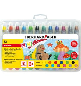Eberhard-Faber - Gel crayons basic + metallic box of 12