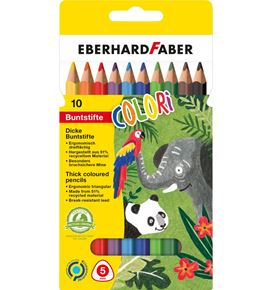 Eberhard-Faber - Colori coloured pencil Jumbo triangular cardboard box of 10