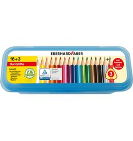 Eberhard-Faber - Coloured pencil triangular plastic box of 16+3