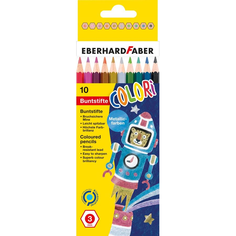 Eberhard-Faber - Colori coloured pencil metallic hexagonal box of 10