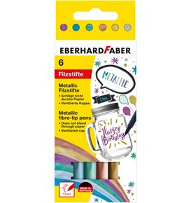 Eberhard-Faber - Metallic felt-tip pen cardboard box of 6