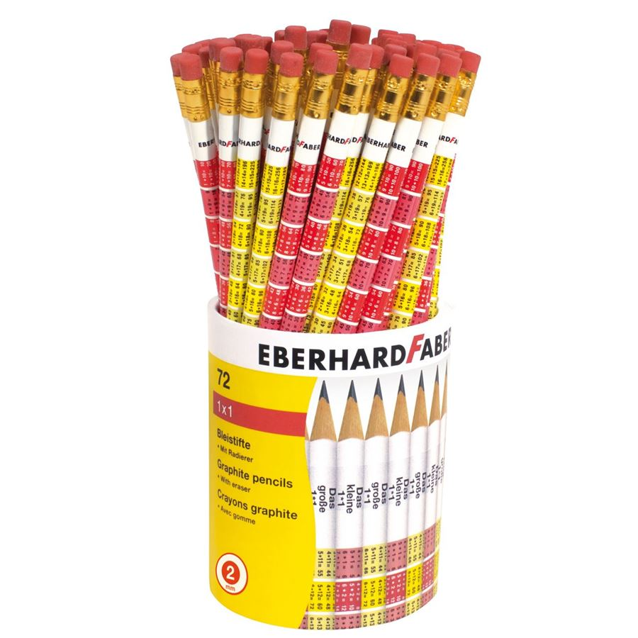 Eberhard-Faber - Graphite pencil 1x1 round with eraser 72 pencils Display
