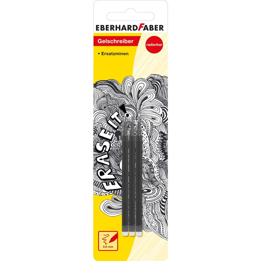 Eberhard-Faber - Erase it! Refill gel roller erasable black, set of 3