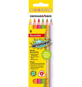 Eberhard-Faber - Coloured pencil TRI Winner neon cardboard box of 6