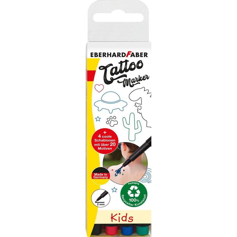 Eberhard-Faber - Tattoomarker set Kids 4 colours inlcusive 4 stencils