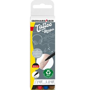 Eberhard-Faber - Tattoomarker set One Line 4 colours incl. 4in1 stencil